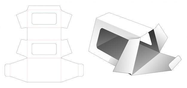 Trapeziumdoos met rechthoekig venster gestanst sjabloon