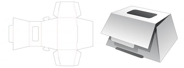 Trapeziumvormige bakkersdoos met gestanste mal voor bovenruit