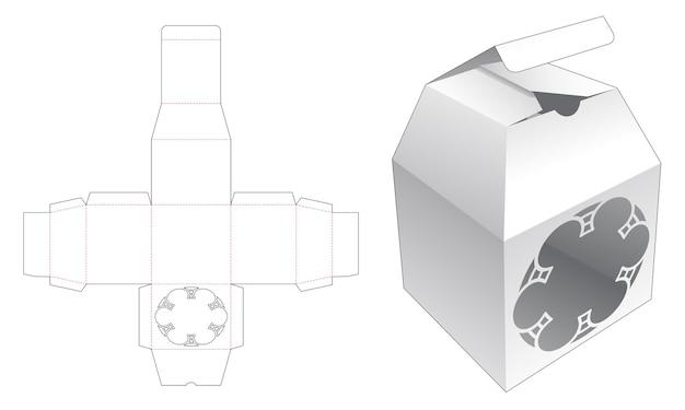 Trapeziumvormige bovenkant verpakking met mandala patroon venster gestanst sjabloon