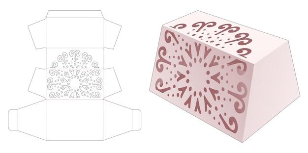 Trapeziumvormige doos met gesjabloneerde mandala gestanste sjabloon
