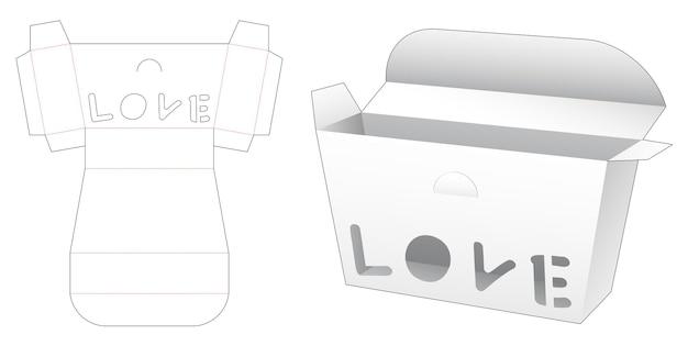 Trapeziumvormige doos met gestanst sjabloon in de vorm van een liefdeswoord in de vorm van een raam