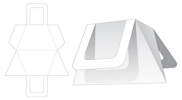 Trapeziumvormige, driehoekige tas met gestanst sjabloon met handvat Premium Vector