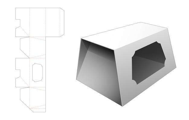 Trapeziumvormige kistvormige doos met gestanste sjabloon in venster