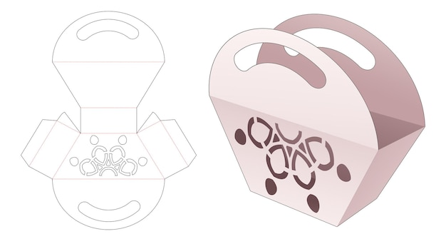 Trapeziumvormige tas met handvatten en gestencilde mandala gestanste sjabloon