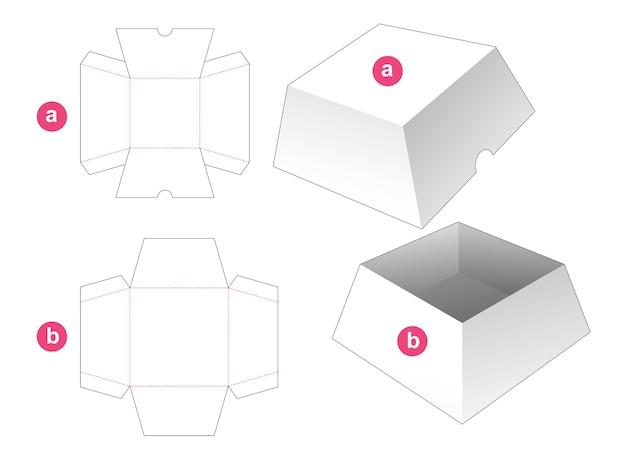 Trapeziumvormige vierkante doos met deksel gestanst sjabloon