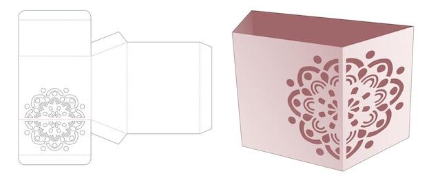 Trapizoïde briefpapierdoos met gestencilde mandala gestanste sjabloon