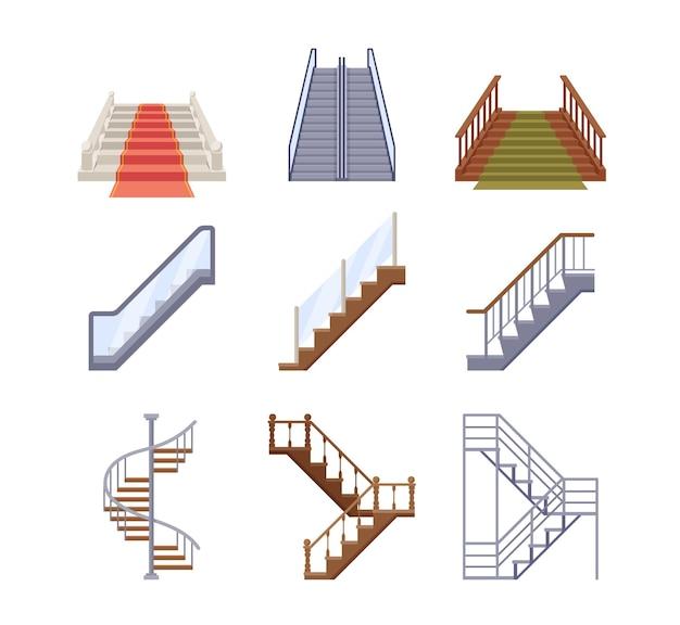 Trappen, houten en metalen ladders met leuningen
