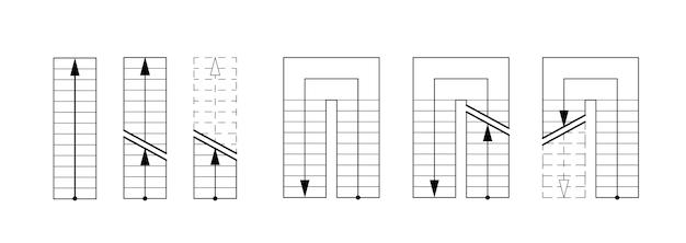 Trappen tekenen. architecturale set voor het ontwerpen van tekeningen en schetsen.