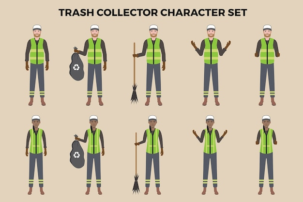 Trash collector illustratie set
