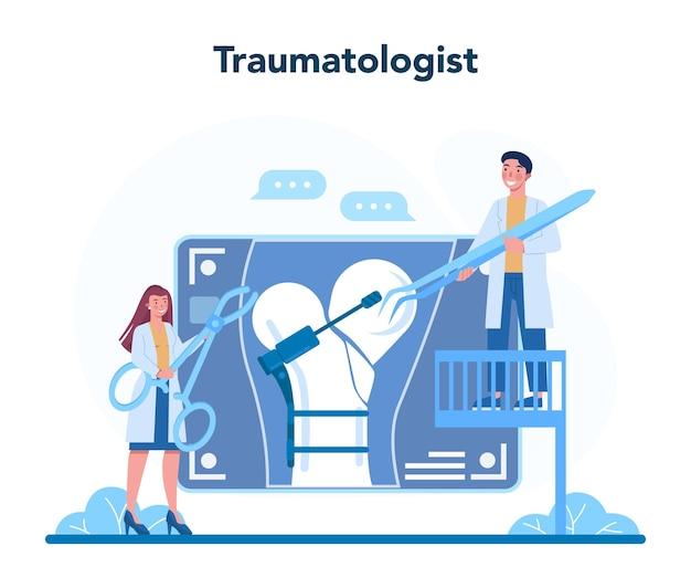 Traumatoloog en arts voor traumachirurgie. gewonde ledemaat, gebroken