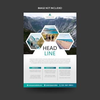 Travel flyer folder brochure voorbladsjabloon, zeshoek concept