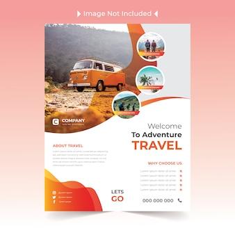 Travel flyer-ontwerp met geel