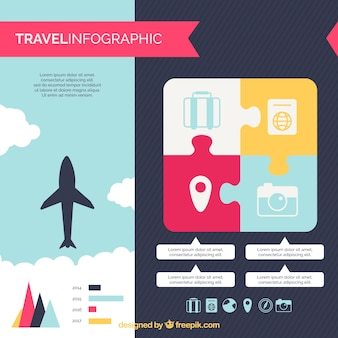 Travel infographic in plat design
