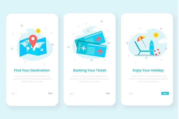 Travel onboarding scherm gebruikersinterfacekit voor mobiele app