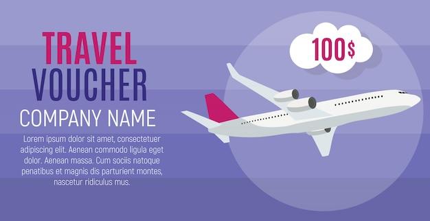 Travel voucher 100 dollar sjabloon achtergrond met vliegtuig. illustratie