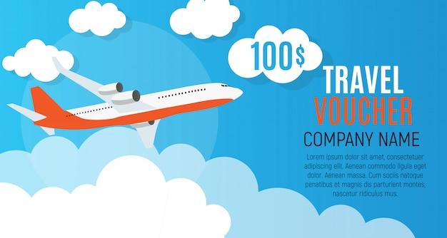 Travel voucher 100 dollar sjabloon achtergrond met vliegtuig.
