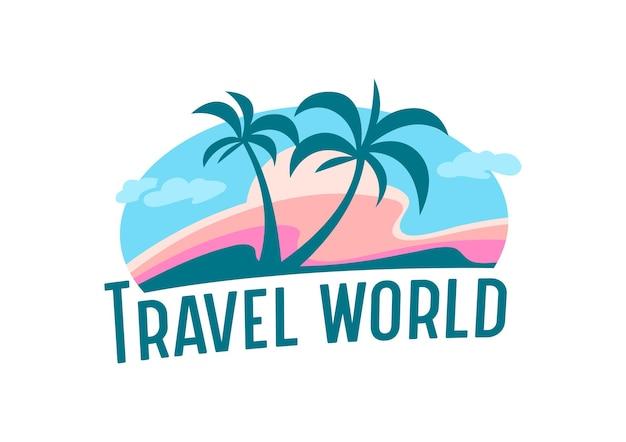 Travel world icon of label met palmbomen, wolken en eiland voor reisbureau service of mobiele telefoon applicatie, zomervakantie embleem geïsoleerd op een witte achtergrond. cartoon vectorillustratie