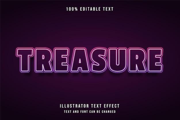 Treasure, 3d bewerkbaar teksteffect roze gradatie paars neonstijleffect