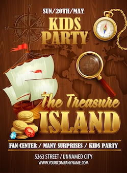 Treasure island party poster sjabloon