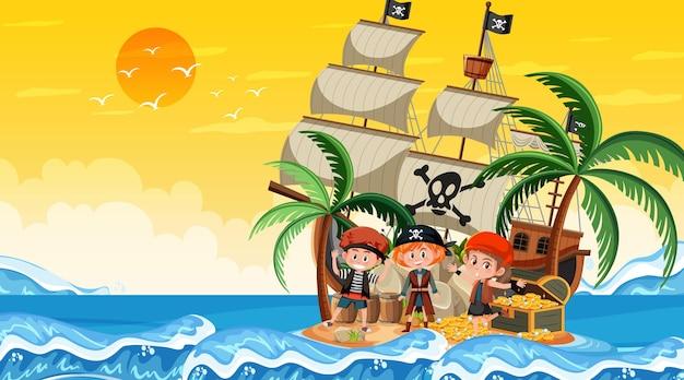 Treasure island-scène bij zonsondergang met pirate-kinderen