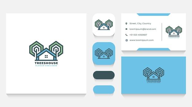 Trees house logo sjabloon en visitekaartje