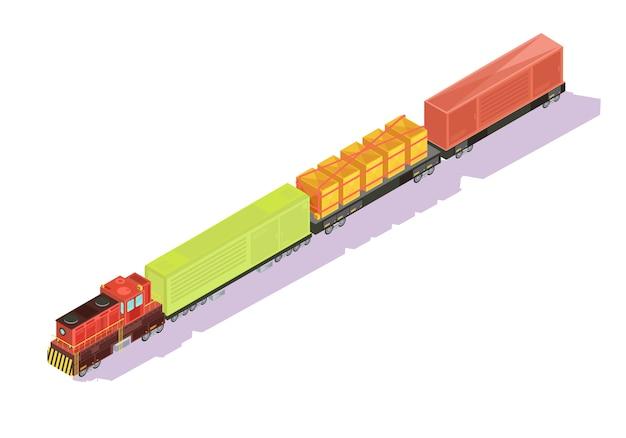 Treft isometrische reeks van goederentrein met goederen en veewagens op lege achtergrond met schaduwen vectorillustratie