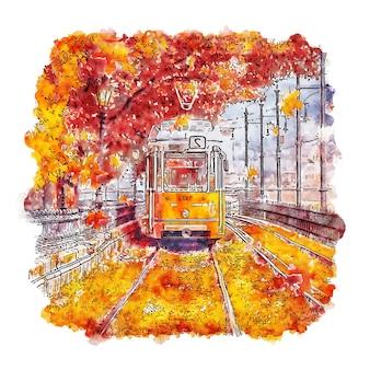 Trein boedapest hongarije aquarel schets hand getrokken illustratie