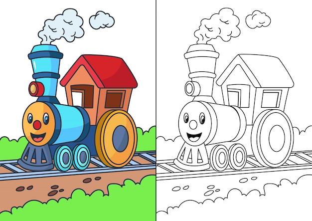 Trein cartoon kleurplaat