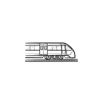 Trein hand getrokken schets doodle pictogram. modern vervoer, reis en metro, spoorwegvervoerconcept