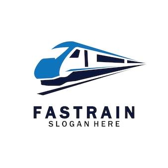 Trein logo vector illustratie design.fast trein logo.hoge snelheid trein illustratie logo-vector illustratie