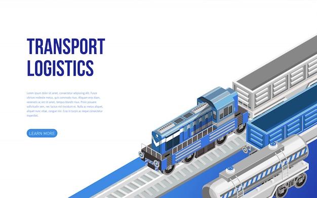 Trein op spoorweg dichtbij vervoer logistiekbeschrijving