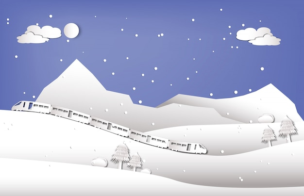 Trein rijden in de buurt van de berg in wintertijd papier gesneden stijl