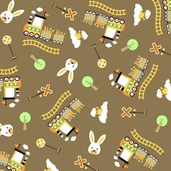 Treinbeeldverhaal met wortelen, konijntjeshoofd, boom, spoorwegtekens op vectorpatroon