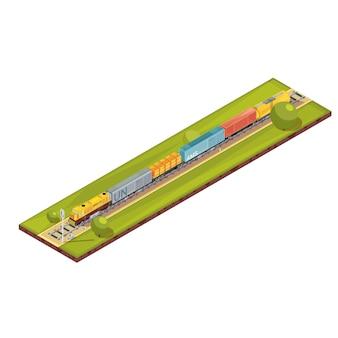 Treinsamenstelling met het isometrische beeld van de spoorwegafstand met de reeks van de vrachtgoederen van auto's en bomen vectorillustratie