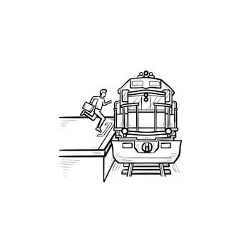 Treinstation en passagier stapt op de trein hand getrokken schets doodle pictogram. spoorvervoer, metroconcept