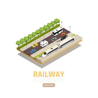 Treinstation isometrische illustratie met stadslandschapsauto's op snelweg met spoorweg en stadstrein