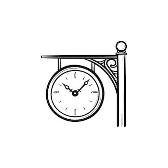 Treinstation klok hand getrokken schets doodle pictogram. aankomst- en vertrektijd, spoorweg- en perronconcept. schets vectorillustratie voor print, web, mobiel en infographics op witte achtergrond.