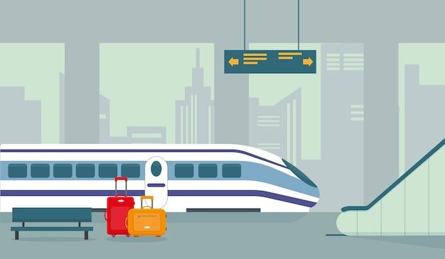 Treinstation, metro of ondergronds perron interieur met moderne trein.