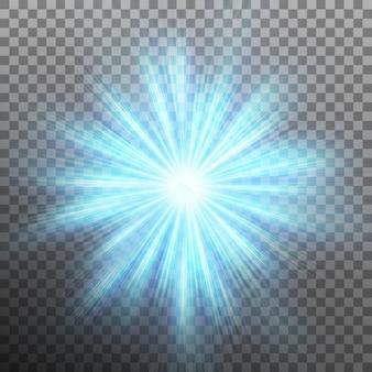 Trek blauwe energie weg met een burst-achtergrond. transparante achtergrond alleen in