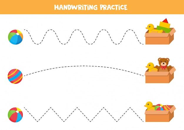 Trek de lijnen over. educatief spel voor kinderen. speelgoedbal en speelgoeddoos.