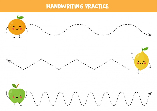 Trek de lijnen over met schattige kawaii-appel, sinaasappel en citroen.