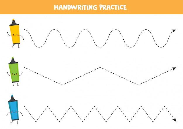 Trek de lijnen over met schattige kawaii markeerstiften. handschrift werkblad.