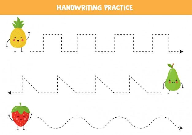 Trek de lijnen over met schattige kawaiivruchten. schrijf oefening.