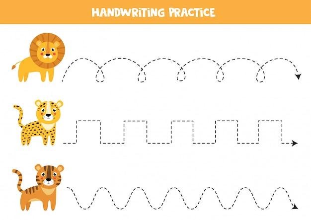 Trek de lijnen over met schattige wilde katten. handschriftoefening voor kinderen.