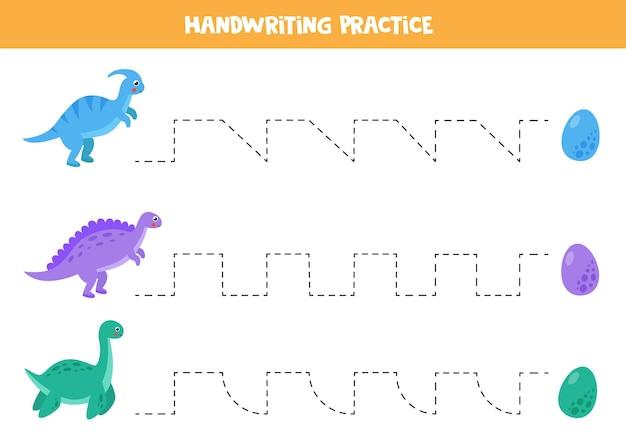 Trek de lijnenactiviteitenpagina over met schattige dinosaurussen en eieren. handschriftoefening voor kinderen.