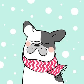 Trek franse buldog in sneeuw voor wintertijd
