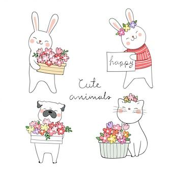 Trek kat pug hond en konijn van dieren met schoonheid bloem