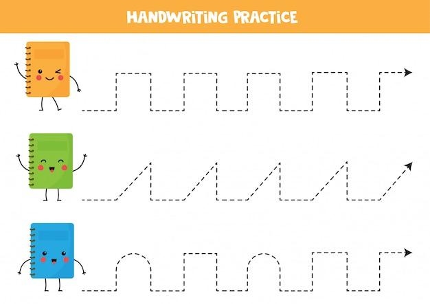 Trek lijnen over met schattige kawaii schriften. educatief spel.