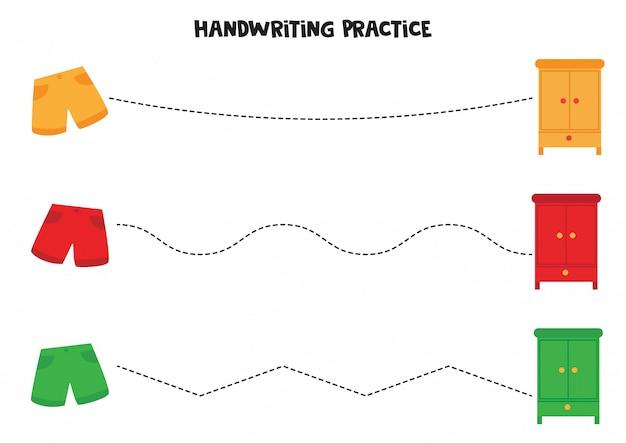 Trek lijnen tussen korte broek en kledingkast. handschriftoefening voor kinderen.