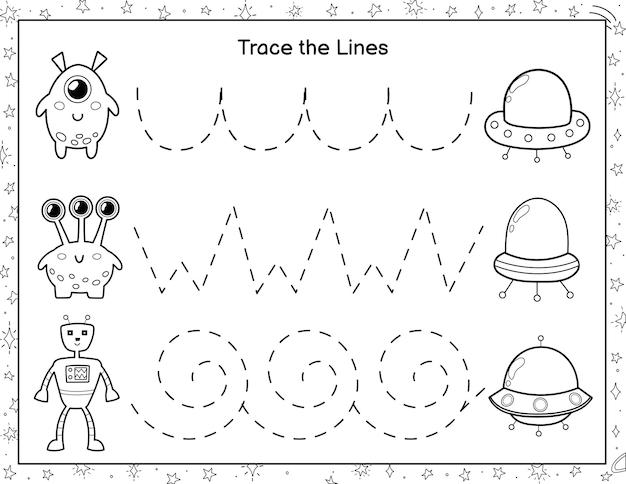 Trek lijnen van schattige aliens naar de vliegende schotels activiteitenpagina voor kinderen handschriftoefening